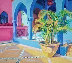 Blue Arches by Leila Barton -  sized 32x28 inches. Available from Whitewall Galleries